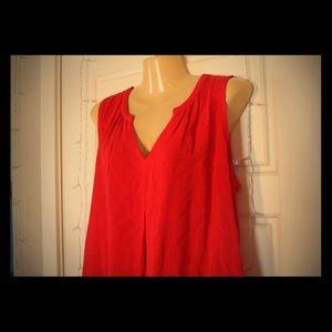 Sleek Red V Neck Sleeveless Blouse 💛🌵